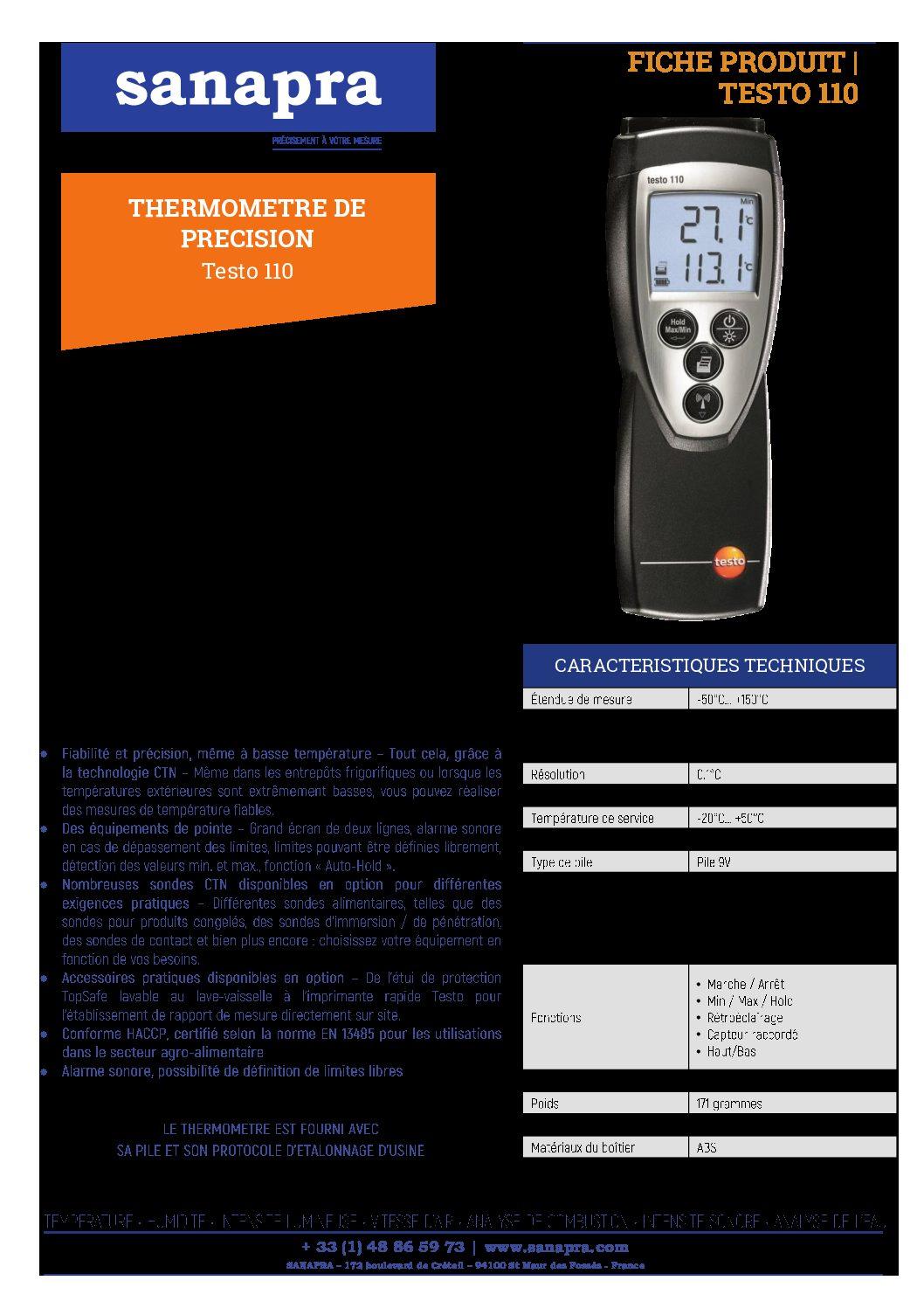 FICHE PRODUIT 033 – TESTO 110