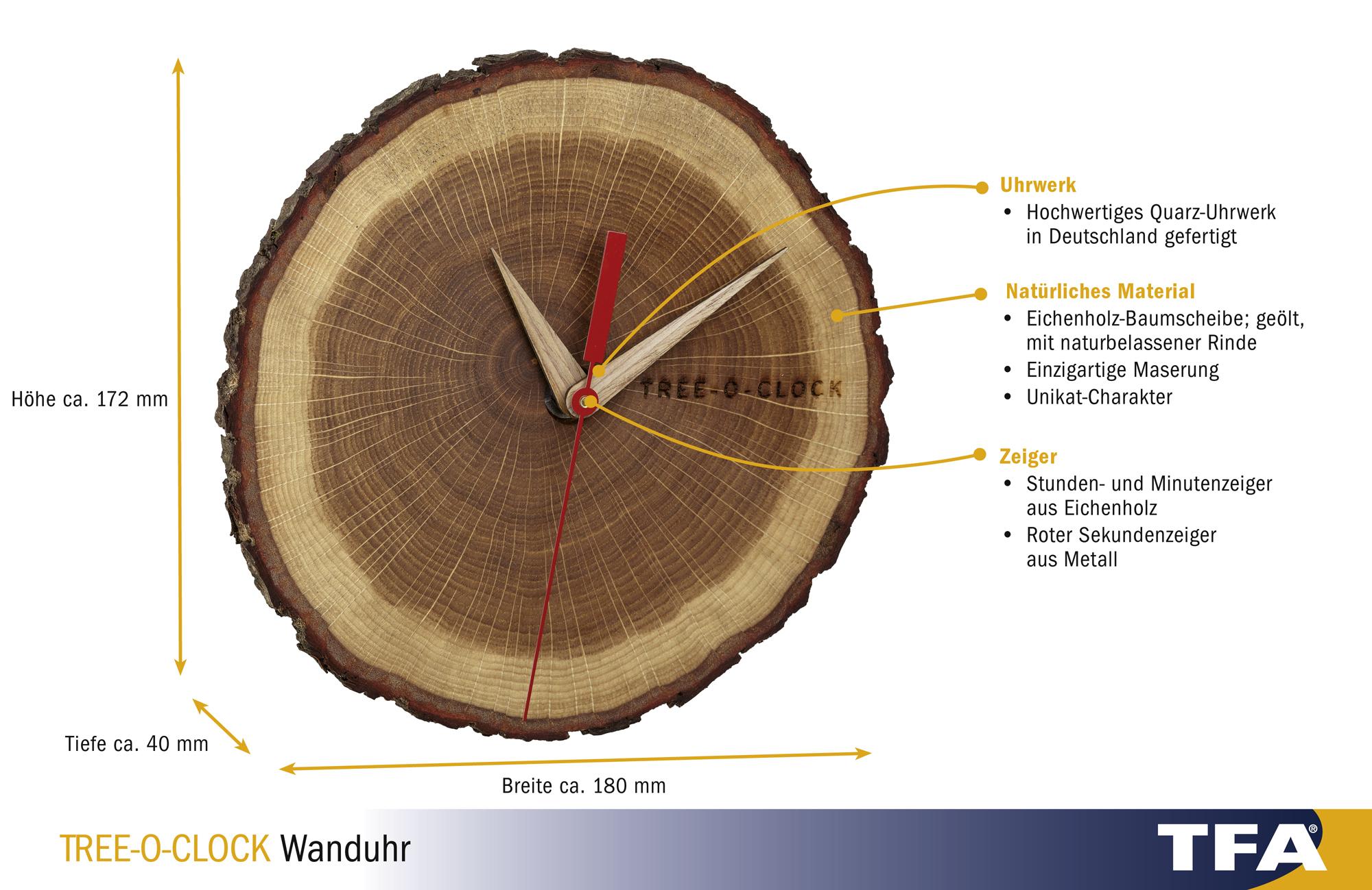 "Horloge "" tree O Clock"" murale, montée sur bois de chêne, huilée ... 3e30ef9bd8a5"